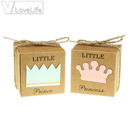 birthday princess party box NZ - 50pcs Little Prince Princess Square Crown Kraft Paper Baby Shower Candy Box Party Gift Boxes Girl Boy Kids Birthday Favors Box T8190629