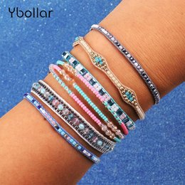 white roses seeds Australia - 6pcs Set Handmade Braided Bracelets Rise Beads Seed Beads Woven Multi-Layer Fashion Crystal Bohemian Charm Bangles Jewelry