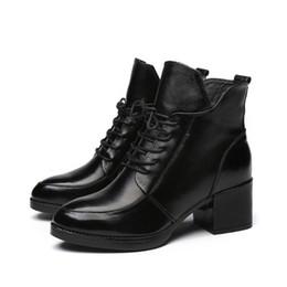 Vintage Lace Up Boots UK - Women Shoes Boots Vintage Genuine Leather Snow Winter Plush Fur Warm Lace Up Ankle Mother Superstar Size 35-40 OL-1
