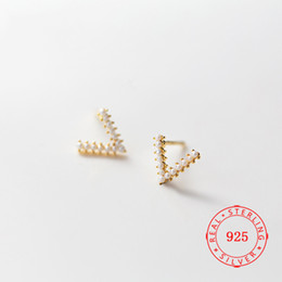 $enCountryForm.capitalKeyWord Australia - wholesale high quality unique design 925 Sterling Silver Imitation Pearl Letter V Shape Stud Earrings For Women high quality jewellery