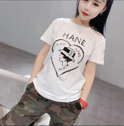 Summer fragranceS online shopping - 19ss Europe High Quality Women s Summer Fragrances Hand painted Doodle Letters Love Straw Hat Short Sleeve T Shirt Women s Tops