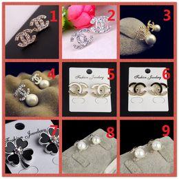 $enCountryForm.capitalKeyWord Australia - HOT!Classic 14K Brand Stud earring Gold Silver Letter Logo Pin Pearl Diamond Collar Pendant Ms Wedding Party Gift Box A11