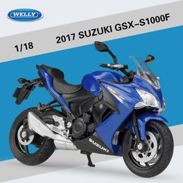 toy bicycle model NZ - Welly Diecast Alloy 2017 SUZUKI GSX-S1000F Motorcycle Model Toy, 1:18 Scale, Ornament for Xmas Kid Birthday Boy Gift, Collect,Decoration,2-1