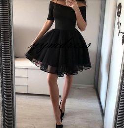 $enCountryForm.capitalKeyWord Australia - Hot Sale Black Homecoming Dresses 2019 Evening Gowns Bateau Neckline Short Sleeve Puffy Cocktail Dress Mini Prom dress Custom Made