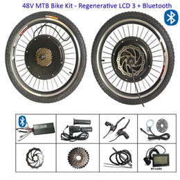 ElEctric convErsion kit bicyclEs online shopping - 24 inch Electric e Bike Conversion Kit V W Bicycle Hub Motor Front Rear Wheel Conversion Kits with Regenerative LCD display bluetooth