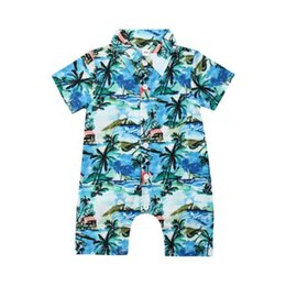 boy romper set wholesale Canada - Baby Boys Clothing Newborn Baby Kids Boys Infant Hawaii Romper Jumpsuit Cotton Outfit Sets