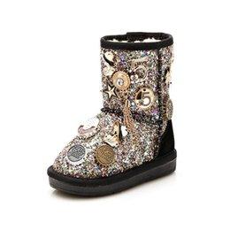 Meninas botas de neve princesa botas de algodão fivela de metal broca de mão no tubo além de veludo plus fiapos de algodão botas quentes venda por atacado
