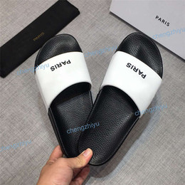 Luxury high heeLed shoes online shopping - 2019 High Quality Luxury Designer Mens Womens Summer Rubber Sandals Beach Slide Fashion Scuffs Slippers Indoor Shoes Size With Box
