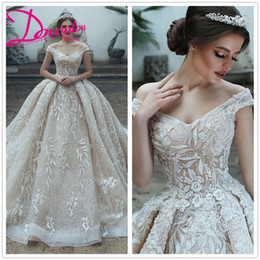 ball skirt patterns NZ - 2019 Hottest Ball Gown Wedding Dresses Leaves Pattern lace Arabic Bridal Gowns Chapel train Wedding dress affordable cheapest free shipping