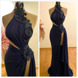zipper split royal blue NZ - Aso Ebi 2020 Arabic Sexy Royal Blue Evening Dresses Crystals Chiffon Prom Dresses High Split Formal Party Second Reception Gowns ZJ045