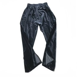Azul escuro de veludo calças Hip Hop soltas Fit Sweatpants Zipped-tornozelo Two-Pocket Styling