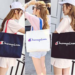 Cheap 13 Inch Australia - Women Champion Bag Letter Print Canvas Bag Large Capacity Shoulder Bags Outdoor Sports Travel Handbags Storage Bags Cheap C423