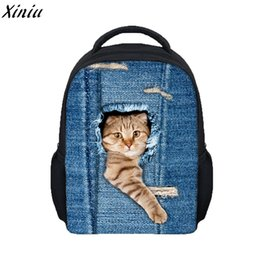cartoon animals backpacks students 2019 - 3D Animal Print Travel Backpack For Student Children College Mochila Shoulder Bags Cute Cat Fashion Style Travel Softbac