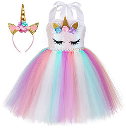white tutu costume Canada - New Tutu Dress with Headband for Girls Kids Unicorn Sequin Suspender Tulle Dress Children Party Costume Fast Shipment