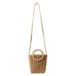 straw bag hand weaving Canada - Summer Women New Small Fresh Hand Woven Bag In Holiday Beach Straw Bag Female Paper