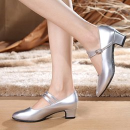 Low Wedge Heel Grey Shoes Australia - Ladies dancing shoes in summer with low silver white rubber soled high-heeled shoes Latin shoes casual