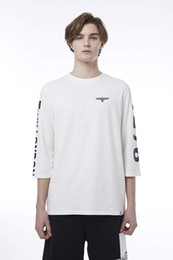 Boy London White Shirt Australia - BOY LONDON Summer casual fashion t-shirt 1976 Printed 3 4 Sleeve BH1TL108AWH Black White