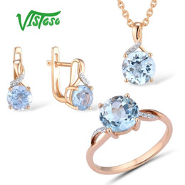 rose gold pendants for women Australia - VISTOSO Jewelry Set For Woman Pure 14K 585 Rose Gold Sparkling Sky Blue Topaz Diamond Earrings Ring Pendant Set Fine Jewelry SH190930
