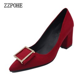 Female Dresses NZ - Dress Shoes Zzpohe 2019 Spring Autumn Women Pumps Shallow Mouth Sweet Ladies Fashion Woman Thick High Heels Female Working