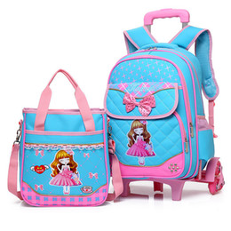 $enCountryForm.capitalKeyWord NZ - Fashion 2pcs set school backpacks 6 wheels children school bags for girls handbag waterproof cute kids travel trolley bookbag
