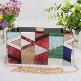 $enCountryForm.capitalKeyWord Australia - Elegant Acrylic Box Handbag Geometric Patchwork Color Evening Clutch Bag Wallet Hard Case Ladies Chain Shoulder Crossbody Bag