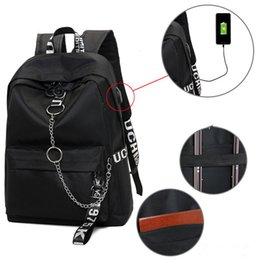 large travelling backpacks Canada - Winmax Large USB Charge Backpacks Men Women Anti-thief Fashion Travel SchoolBag for Teenager Girls Ribbon Chains Laptop BackpackMX190903