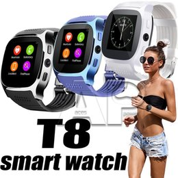 Smart Watch Android Sync Australia - T8 Smart Watch Pedometer Watches Support SIM &TF Card With Camera Sync Call Message Men Women Smartwatch For Android