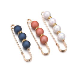 Suits For Ball Australia - 1pc Colorful Imitated Pearl Beads Charms Brooch Safety Pin For Women Brooch Scarf Dress Suit Badge Dangle Jewelry b220