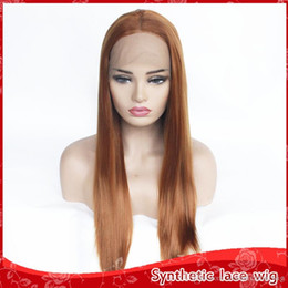 synthetic natural middle part wigs 2019 - Hot Selling Brown Color Long Straight Wigs Middle Part Heat Resistant Glueless Synthetic Lace Front Wigs For Women Natur