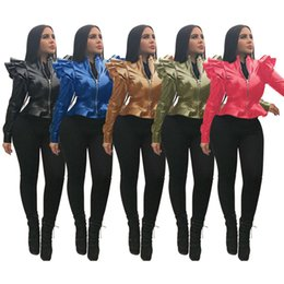 women jackets ruffle Australia - Women PU jacket leather sexy & club fall winter clothes Cardigan ruffle long sleeve solid color outerwear fashion coat bodycon hot sell 1873