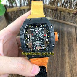 Watches Nylon Australia - Top version RM 27-01 Nadal Skeleton Dial Black NTPT Carbon Fibre Case Miyota Automatic RM27-01 Mens Watch Orange Nylon Strap Sport Watches