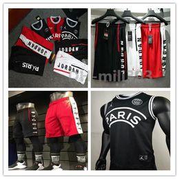 Women mesh vest online shopping - 2019 PSG X AJ sleeveless Jerseys and shorts Michael JD Paris MBAPPE Basketball Dense AU Mesh Fabric vest Jersey Football Shirt Kit Maillot