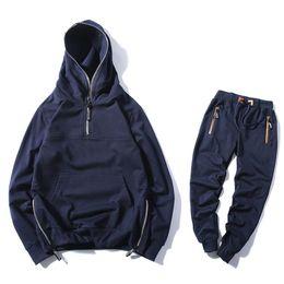 6367f3db Casual Sporting Suit Men Warm Hooded Tracksuit Track Suit Hidden Suspenders  Black Hoodies Men's Sweat Suits Spring Autumn Sets