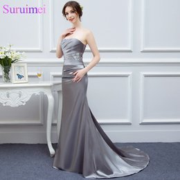 brides maids dresses flower NZ - Gray Bridesmaid Dresses Satin Mermaid Beaded Cheap Brides Maid Dress Under