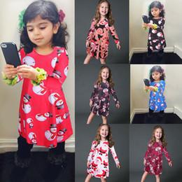 $enCountryForm.capitalKeyWord NZ - 7styles baby girls Christmas dress cdeer Santa Claus t-shirt Snowman cartoon Children X-mas printing princess dresses Kids Clothing FFA2626