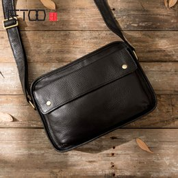 handmade leather messenger bags 2020 - AETOO Original handmade bag leather men's top layer leather shoulder bag men's Messenger casual tide cheap han
