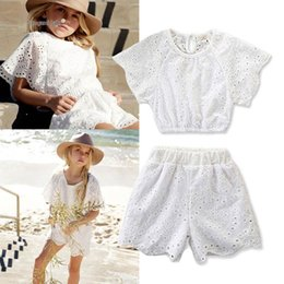 $enCountryForm.capitalKeyWord NZ - kids designer clothes girls Clothes 2019 Summer Fashion cute White lace Kids Sets Tops+Shorts Girls Outfits Best Suits kids clothes A2966