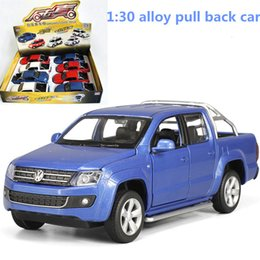 pull back mini cars UK - 1:30 alloy pull back car,high simulation Pickup AMAROK,metal diecasts,toy vehicles,musical & flashing,free shipping CJ191212