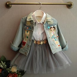 Kids wearing jeans online shopping - Bosudhsou YL Spring Autumn Children Clothing Child Clothes Baby Girl Outerwear Coat Girl Jckets Kids Tops Jeans Wear Denim