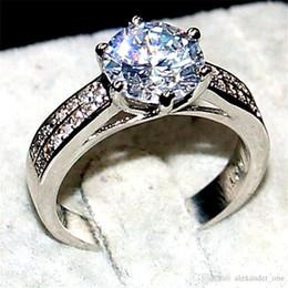 Gemstones diamond online shopping - Nlm99 Luxury Jewelry Real Sterling silver Wedding Bands Rings finger For Women mm Big Gemstone ct diamond cz ring Girl Gift
