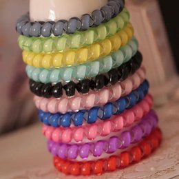 Wholesale Colorful Telephone Wire Cord Gum Hair Tie Good Quality Girls Elastic Hair Rope Candy Color Bracelet Pony Tails Holder Colors