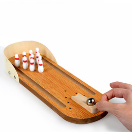 Discount mini bowling toys - Children Sport Toys Wooden Mini Bowling Game Interactive Educational Desktop Toys for Kid Playing Finger Game Kit