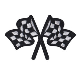 Wholesale Embroidered Patch Racing Car Flags Sew Iron On Embroidery Patches Badges For Bag Jeans Hat T Shirt DIY Appliques Craft Decoration