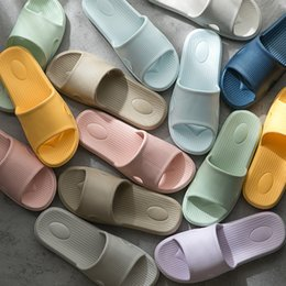 Wholesale Hot Marketing Slippers Summer Floor Skid Proof Home Floor Slippers Indoor Family Stripe Flat Bathroom Bath Sandal Slippers Women