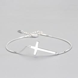 $enCountryForm.capitalKeyWord Australia - Authentic Solid 925 Sterling Silver Cross Bracelet Box chain sterling silver Bracelets Wholesale High Quality Silver Charm Bracelets