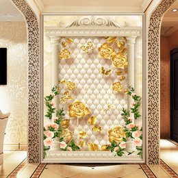 leather living room wallpaper NZ - Customized Europe style luxury wallpaper gold and roses floating on textured ellipse leather background living room vestibule household deco