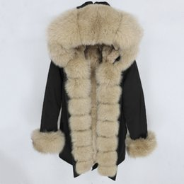 Wholesale black jacket raccoon fur hood resale online - OFTBUY Waterproof Parka Real Fur Coat Winter Jacket Women Natural Raccoon Fur Collar Hood Real Rabbit Fur Liner Detachable