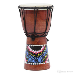 Wholesale 4 Inch African Drum Percussion Kid Toy Classic Painted Wooden Hand Drum For Children Toys-MUSIC