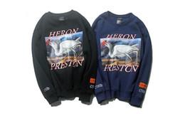Red hoodie online shopping - Mens High Street Hoodies Kanye HERON PRESTON Red crowned Crane O neck Pullovers Tops