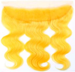 peruvian lace closure fast shipping UK - 13x4 Lace Frontal Closure 10A Yellow Body Wave Peruvian Virgin Human Hair Swiss Lace Top Closure for Beautiful Woman Fast Free Shipping
